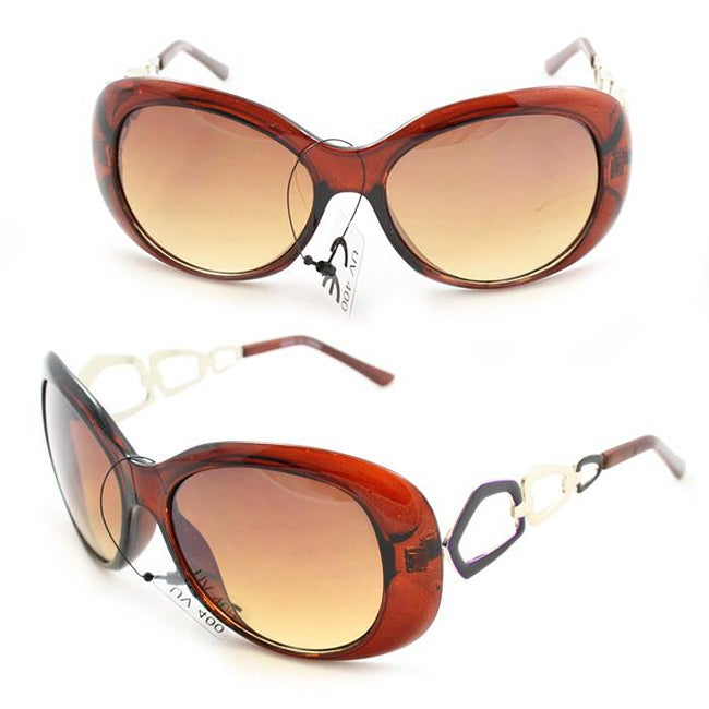 Women's 11121 Brown and Amber Round Sunglasses