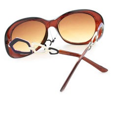 Women's 11121 Brown and Amber Round Sunglasses - Thumbnail 1