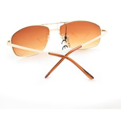 Men's 7837 Gold and Amber Wrap Sunglasses
