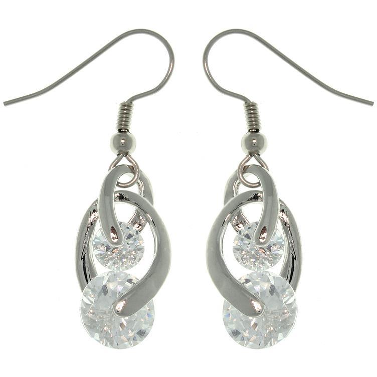 Carolina Glamour Collection Silvertone Swirling Cubic Zirconia Dangle Earrings