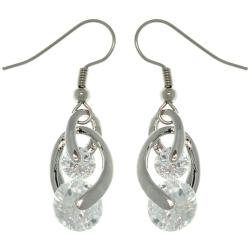 Carolina Glamour Collection Silvertone Swirling Cubic Zirconia Dangle Earrings