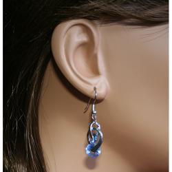 Carolina Glamour Collection Silvertone Swirling Cubic Zirconia Dangle Earrings - Thumbnail 2