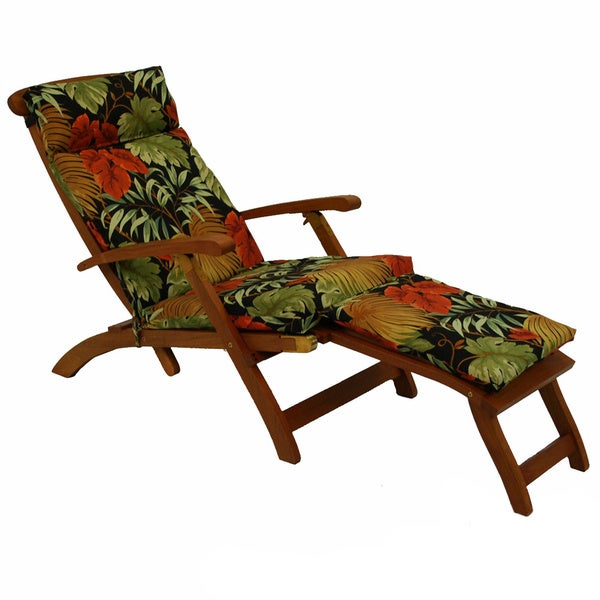Blazing Needles Tropical/ Stripe All-weather Outdoor Steamer Deck Lounger Cushion - 72 x 20