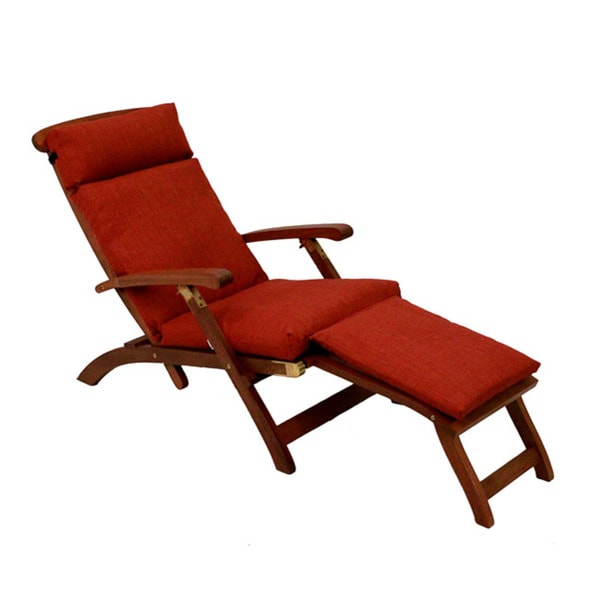 Blazing Needles Solid All Weather Outdoor Steamer Deck Lounger Cushion  (Only)