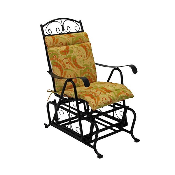 Beau Blazing Needles Patterned All Weather Outdoor Single Glider Chair Cushion    43 X 20