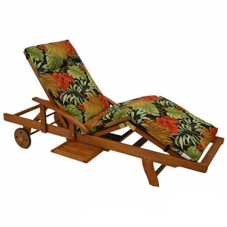 Blazing Needles Patterned All-weather 3-Section Outdoor Chaise Lounge Cushion