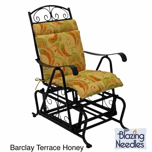 Blazing Needles Tropical/ Stripe All-weather UV-resistant Outdoor Single Glider Chair Cushion