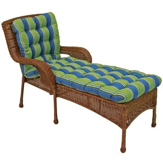 Padded All-Weather UV-Resistant Squared Outdoor Chaise Lounge Cushion