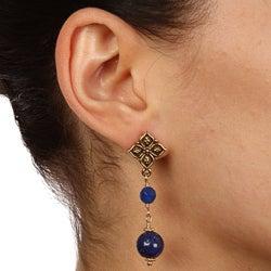 Lola's Jewelry Goldtone Decorative Blue Lapis Post Earrings - Thumbnail 2