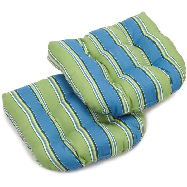 Blazing Needles Colorful Patterned All Weather U Shaped Outdoor Chair  Cushions (Set Of
