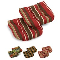 Blazing Needles Tropical/ Stripe All-weather U-shaped Outdoor Chair Cushions (Set of 2) - 19 x 19