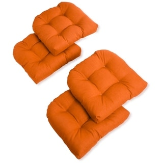 Blazing Needles 19-inch Indoor/Outdoor Chair Cushion (Set of 4) - 19 x 19 (Tangerine Dream)