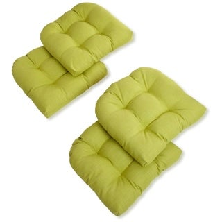 Blazing Needles 19-inch Indoor/Outdoor Chair Cushion (Set of 4) - 19 x 19 (Lime)
