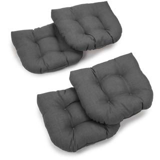 Blazing Needles 19-inch Indoor/Outdoor Chair Cushion (Set of 4) - 19 x 19 (Cool Grey)