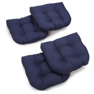 Blazing Needles 19-inch All-Weather U-shaped Outdoor Chair Cushion (Set of 4)