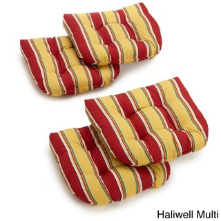 Solid All-Weather U-Shaped Outdoor Chair Cushions (Set of 4)
