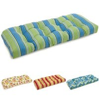 Blazing Needles Colorful Tufted All-weather U-shaped Outdoor Settee Bench Cushion