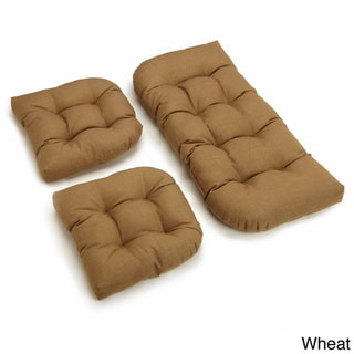 Blazing Needles All-Weather 3-Piece Bench Cushion Set (Wheat)