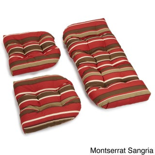 Blazing Needles Tropical/ Stripe All-weather U-shaped Outdoor 3-piece Settee Bench Cushion Set (4 options available)