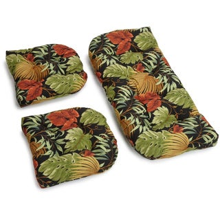 Blazing Needles Tropical/ Stripe All-weather U-shaped Outdoor 3-piece Settee Bench Cushion Set