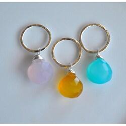 AEB Designs Silver Ring Lavender, Honey, Aqua Chalcedony Jewelry Set