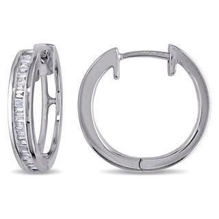 Miadora Sterling Silver 1/3ct TDW Baguette Cut Diamond Hoop Earrings|https://ak1.ostkcdn.com/images/products/5744350/P13475862.jpg?impolicy=medium
