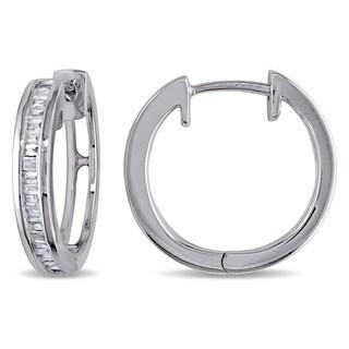 Miadora Sterling Silver 1/3ct TDW Baguette Cut Diamond Hoop Earrings