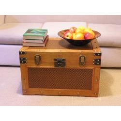 Tuscany Large Wood Steamer Treasure Chest Trunk