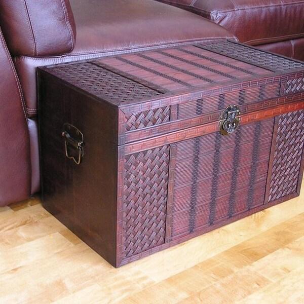 Original Hawaii Medium Wood Trunk with Decorative Wicker