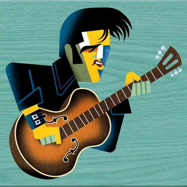 David Cowles 'Elvis Guitar' Canvas Art
