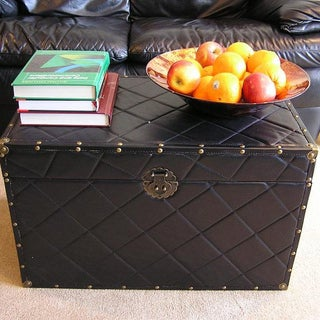 Shop Black Faux Leather Large Wood Steamer Trunk Free