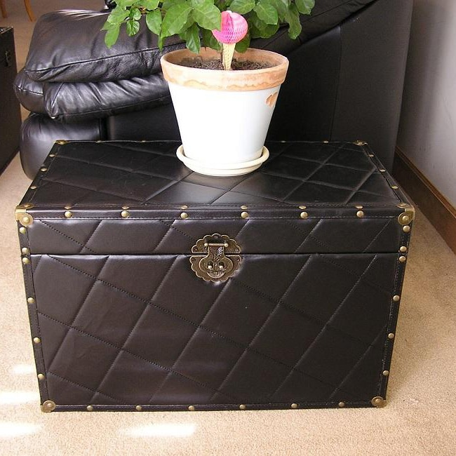Black Faux Leather Medium Wood Steamer Trunk