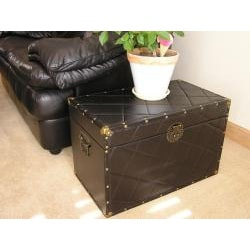 Black Faux Leather Medium Wood Steamer Trunk - Thumbnail 1