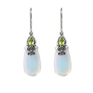 Sterling Silver Opalite/ Peridot Marquis Dangle Earrings (Indonesia)