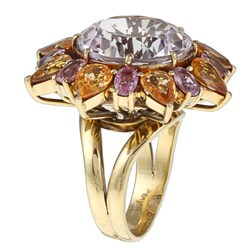 Pre-owned 18k Gold Amethyst, Tourmaline and Citrine Estate Cocktail Ring