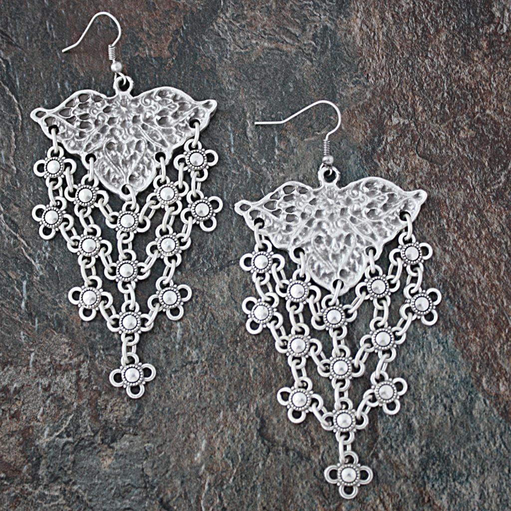 Silverplated Pewter Floral Lattice Dangle Earrings (Turkey)