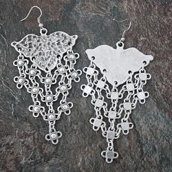 Silverplated Pewter Floral Lattice Dangle Earrings (Turkey) - Thumbnail 1