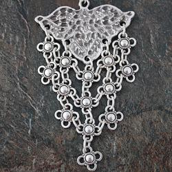 Silverplated Pewter Floral Lattice Dangle Earrings (Turkey) - Thumbnail 2