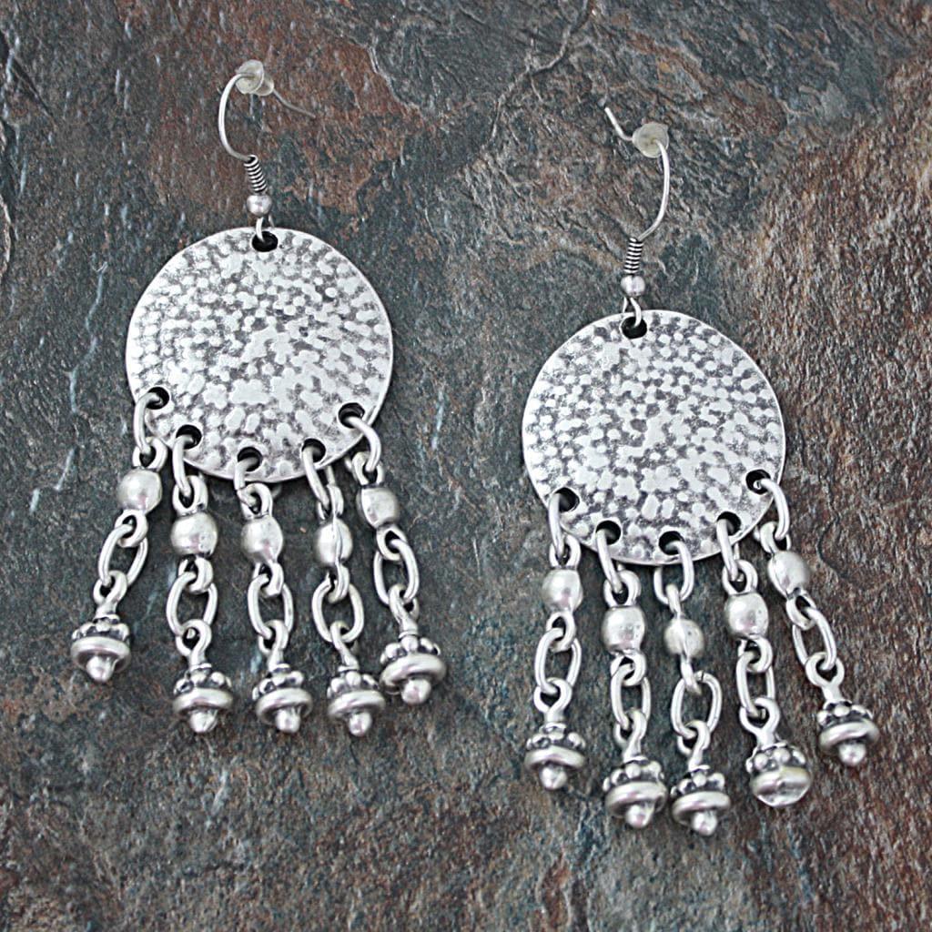 Handmade Silverplated Pewter Chandelier Dangle Earrings (Turkey)