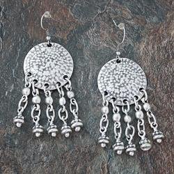 Handmade Silverplated Pewter Chandelier Dangle Earrings (Turkey)