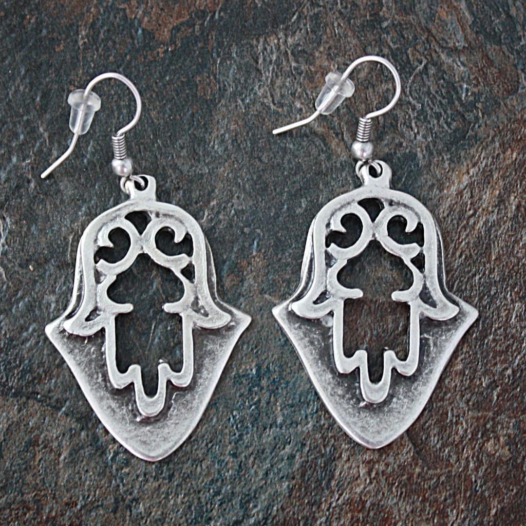 Handmade Silverplated Pewter Ottoman Hamsa Dangle Earrings (Turkey)