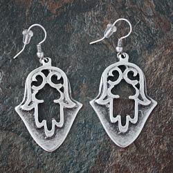 Handmade Silverplated Pewter Ottoman Hamsa Dangle Earrings (Turkey)