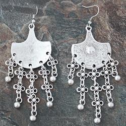 Handmade Silverplated Pewter Floral Fan Dangle Earrings (Turkey)