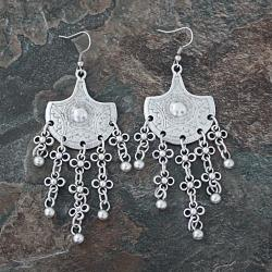 Handmade Silverplated Pewter Floral Fan Dangle Earrings (Turkey)