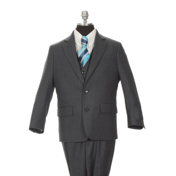 Ferrecci Boy's Dark Grey 3-piece Suit