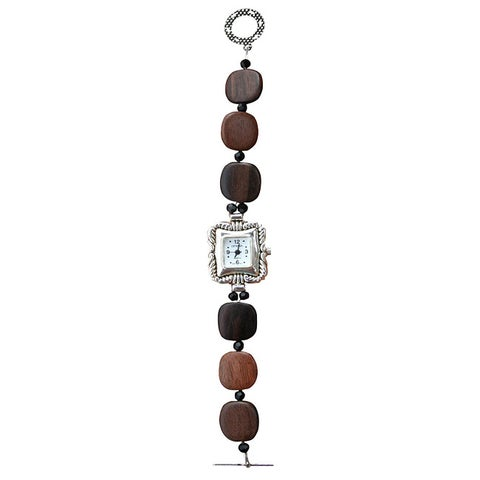Beadwork by Julie Tiger Ebony Wood and Crystal Watch