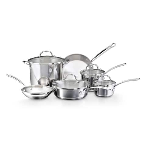 Farberware Millennium Silvertone Stainless Steel 10-piece Cookware Set with Glass Lids