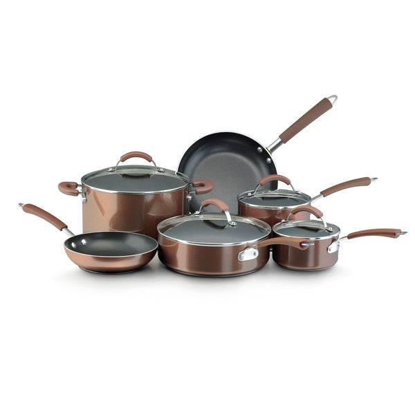 Farberware Millennium Bronze Porcelain 12-piece Non-stick Cookware Set. Opens flyout.