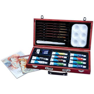 Beginner Artist Watercolor Painting Set with Wooden Storage Box