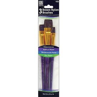 Loew-Cornell Brown Nylon 3-piece Brush Set